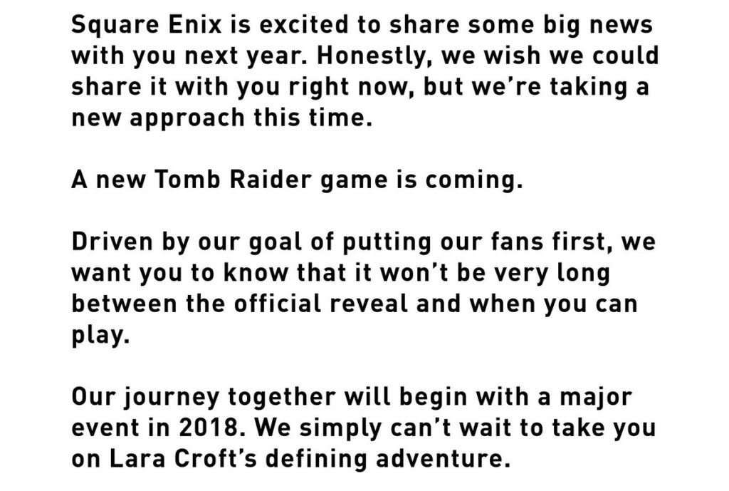 Square Enix confirms a new Tomb Raider game for 2018