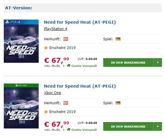 Austrian Retailer lists Need For Speed Heat for release this