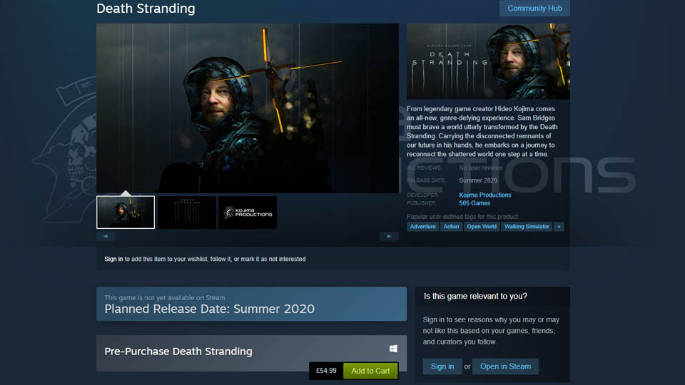 Death Stranding coming to Steam, isn't Epic Store exclusive